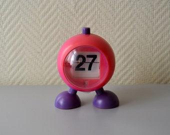 Vintage Perpetual Calendar / pink and purple globe