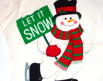 Merry Christmas Appliques, Cut and Sew, Cranston Prints Fabric, Snowman, Santa Claus, Stocking, Holiday Embellishments, Crafting  (107-14)