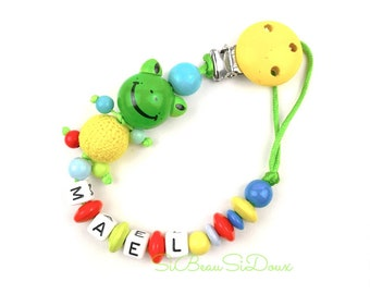 Personalized natural wooden beads pacifier clip