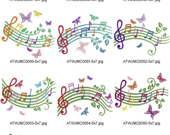 Musical-Scale. ( 10 Machine Embroidery Designs from ATW )