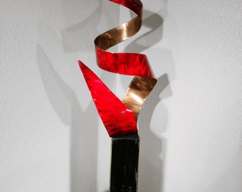 "Modern Abstract Metal Art Indoor Outdoor Decor Sculpture -  Red and Copper ""Cyclone"" by Dustin Miller"
