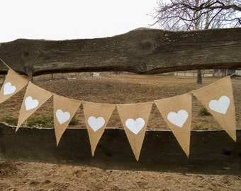 Heart Bunting Heart Banner Hearts Garland Valentines Day Decor Burlap Wedding Banner Burlap Wedding Decor Wedding Garland Rustic Wedding
