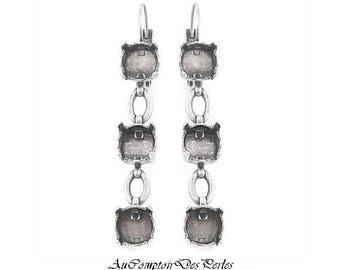 Boucles d'oreilles, chaines, dormeuses, à sertir argent antique 50x8mm, 1 paire