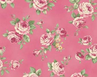 Ruru Bouquet Love Rose Love Cotton Fabric Rose ru2300-13d Roses on Dark Pink