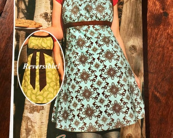 Sew Liberated #103 Women Sewing Pattern The Emmeline Apron Reversible Empire Waist w opt front or back ties halter neckline Meg McElwee  NEW