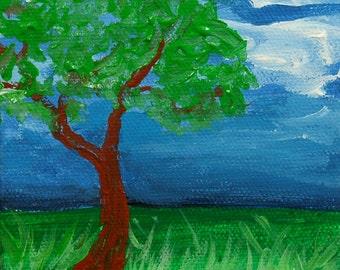 Tree painting - Painting on canvas - Original art - Landscape - Miniature art - Wall art - Tree art - Acrylic painting - ElisaAlvarado