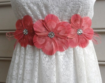 LANNA Coral and Pink Peacock Feather Flower Bridal Wedding Sash with Pink Veil and Crystals