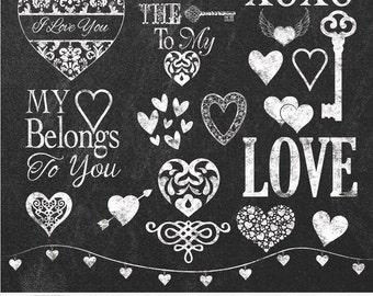 "Chalk Hearts Cliparts ""CHALK HEARTS"" 20 chalk board clip arts, 12x12 chalkboards, chalk hearts, chalk, Love, chalk keys, chalk word art"
