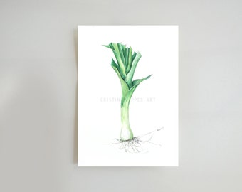 Leek glicee print, ink art, leek wall art print,  kitchen art print, vegetable wall decor, leek print, prints, leek watercolor print, leek