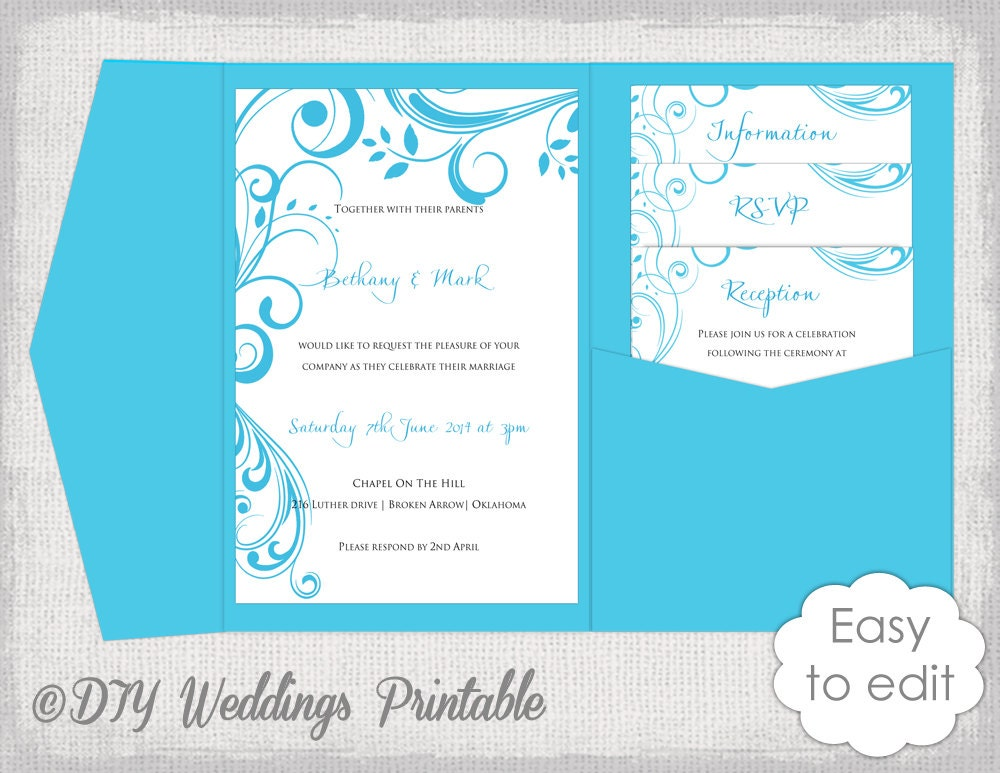 Pocket Wedding Invitation Template DIY Malibu Blue pocketfold