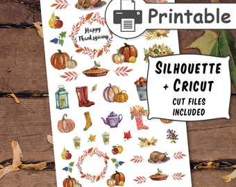 PRINTABLE Thanksgiving Planner Stickers,Fall Planner Stickers,Autumn Planner Stickers,October Sticker,November Planner Stickers + Cut files