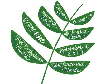 Customized leaf digital print with the couple's name and ceremony details.