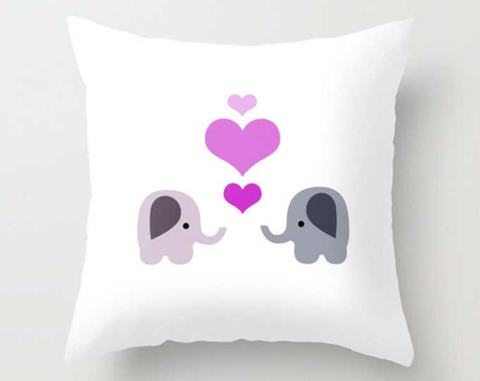 Elephant Throw Pillow Cover Includes Pillow Insert - 2 Elephants with Hearts - Nursery Art - Made to Order