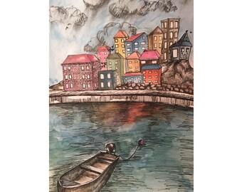 "4x6 Watercolor Art Print - ""If I Should Go Before You"""