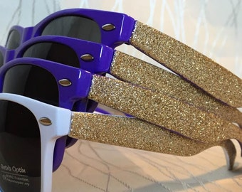 Purple and Gold glitter sides sunglasses/Bachelorette Party Glitz and Glamour Sunglasses with Glitter Side Sparkly/Glitter Sunglasses