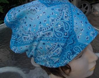 BLINGED JEWELED Crystals Blue Headband Womens Cotton Handmade Stretch BANDANA