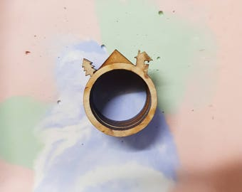 Cabin in the forest ring trio- natural wood