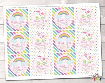Roller Skating Party Printable Favor Tag Design Girls Birthday Party Favor Tag PDF - INSTANT DOWNLOAD