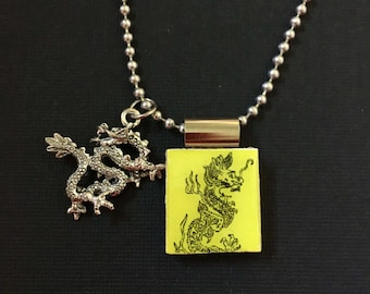 Chinese Dragon Jewelry, chinese dragon necklace, handmade Chinese jewelry, dragon pendant, dragon charm, recycled scrabble tile jewelry