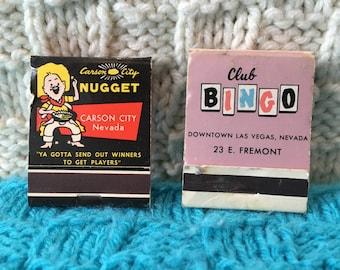 2 Vintage Matchbooks. Carson City Nugget and Club Bingo Nevada.