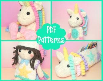 PDF - Unicorn Crochet Pattern Bundle, Unicorn Amigurumi, Amigurumi Pattern, Unicorn Plush, Unicorn Plushie, Unicorn, Crochet Pencil Case,