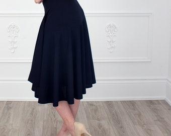 Asymmetric Swing Skirt, High Waist, Navy Skirt, Swing Skirt, Full Skirt, Midi Skirt, Tea Length, Crepe Skirt, Scuba, Work Skirt, Comfortable