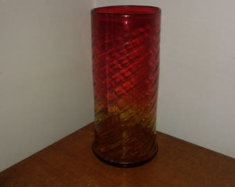 Beautiful BACCARAT Crystal vase model bamboo red and amber