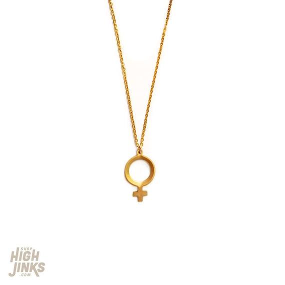 Tiny Female : Raw Brass Charm Necklace