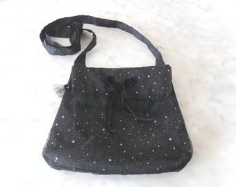 Festive bag sequined tulle and black taffeta with flap.