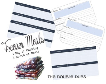 Freezer Meal Prep Guide - Batch Cooking - Recipe Cards - Grocery Shopping List - Freezer Meal Recipes - Digital Download - Printable Recipes