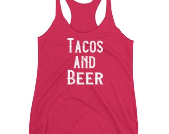 Tacos And Beer Racerback Tank Top Womens Taco Tuesday Beer Lover Gift Shirt Graphic Tee Yoga Workout Birthday Shirt