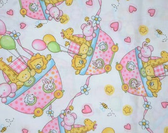 Cotton fabric Quilt Craft Childrens Girls Party Animals Pink Baby Noahs Ark