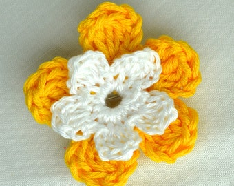 Medium to Small Yellow and White Flower Lapel Pin Brooch - Button Hole - with Brooch Fitting Back - Crochet Flower