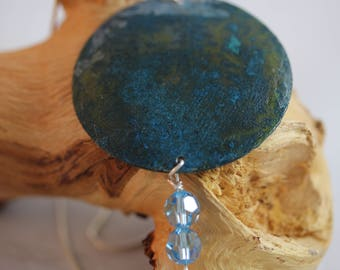 Copper Pendant with Blue Green Patina and 2 Blue Beads (082017-069)