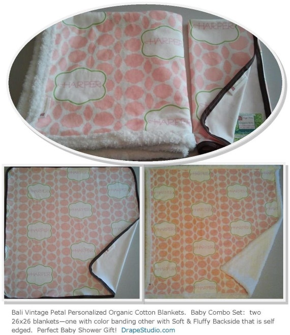 Organic Cotton Hallmark Bali in Pink Personalized Baby/Toddler/Teen/Adult  Blankets