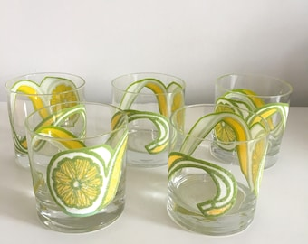 Low Ball Rocks Glasses Barware | Lemon Peel Motif | Yellow Green