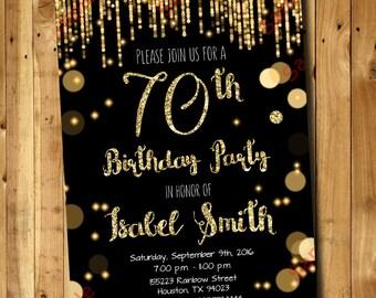 70th Birthday Invitation - Gold Glitter Invitation - Adult Invitation - Elegant Birthday Invitation