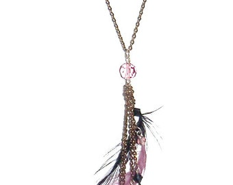 Vintage Feathers with Purple Black Crystals Long Necklace