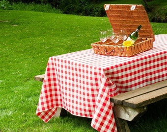 90 x 156 Rectangular Red and White Checkered Gingham Tablecloth