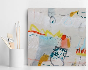 """Small Abstract painting White painting with grey and yellow Original Art, small Abstract Art gift on canvas """"Carburante 03"""""""