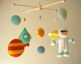 "Baby crib mobile, astronaut mobile, space mobile, universe mobile, nursery mobile ""Planet 2"""