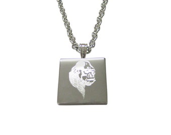 Silver Toned Etched Gorilla Head Pendant Necklace