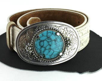 Turquoise & Silver Western Buckle on White Tooled Leather Belt   -  US size 30
