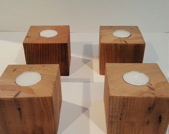 Rustic wood single tea light candle holders - set of 4