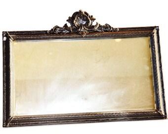 Vintage Black Gesso Carved Mirror Paris France French Chic Apartment Designer EU