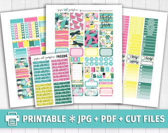 CHASE THE SUN Printable Planner Stickers/for use with Erin Condren/Weekly Kit/Cutfiles/Summer Gold Tropical Pineapples 4th of July August