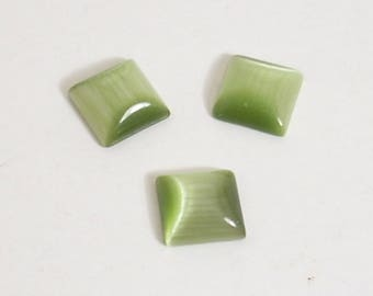 6 square 8X8mm green cat's eye cabochons