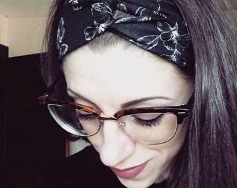 Black & White Floral Top Knot Head Wrap