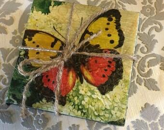 Beautiful Butterfly Ceramic Tike Coasters - set if 2