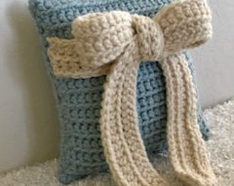 """Blue and Ivory Bow Accent/Throw Wool Blend Crocheted Pillow 12"""" x 12"""""""
